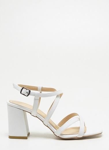 F By Fabrika F By Fabrika Sofia Çok Renkli Kadın Kalın Topuklu Ayakkabı Beyaz